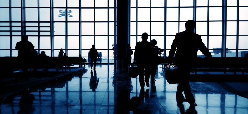 Business travelers at airport.