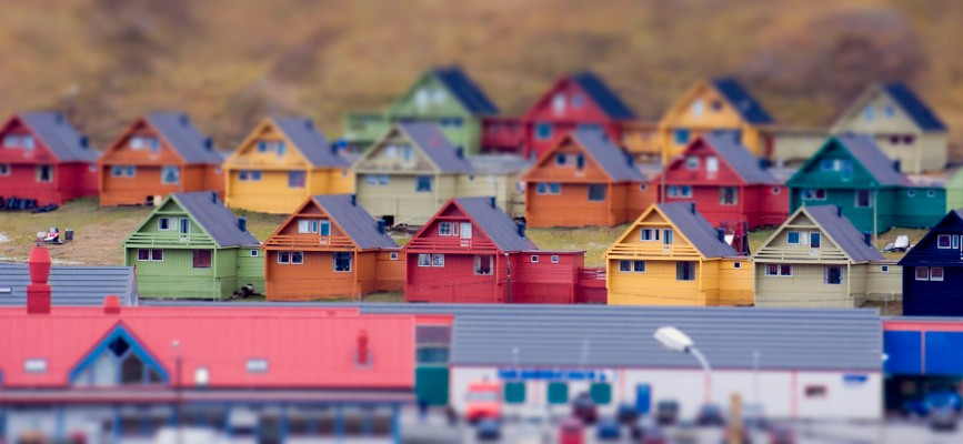 Multi-colored model-like terraced houses. Longyearbyen, Svalbard, Norway.